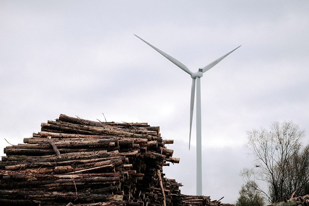 Logs-and-Turbine---Wind-Energy